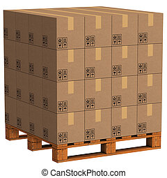 well placed pallet packs 3d rendering with clipping path