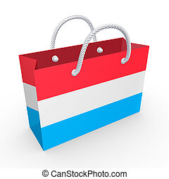 Packet with flag of Luxembourg. Isolated on white.3d ...