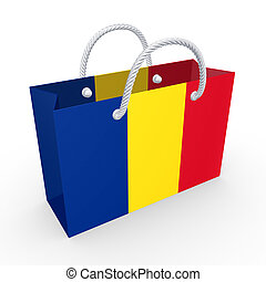 Packet with flag of Romania.