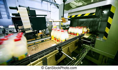 packets bottles of milk go belt conveyor and automation...