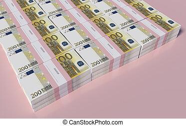 Packets of 200 Euro bills