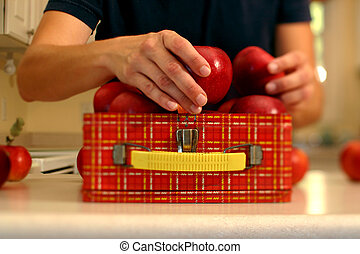 Packing a healthy lunch (Narrow field of focus down middle ...