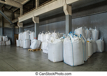 Packing and storage of bio granules. Granulated wooden fuel, bio pellets.