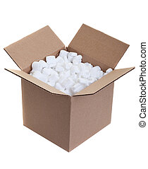 Packing box - Cardboard box with styrofoam packing peanuts ...