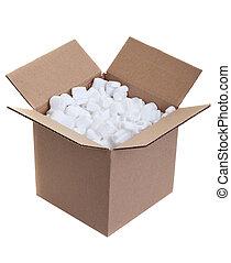 Packing box - Cardboard box with styrofoam packing peanuts...