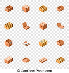 Packing box icon set, isometric 3d style