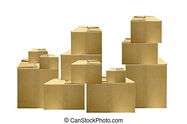 packing boxes - illustration of a stack of cardboard packing...