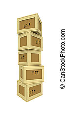 Packing-boxes - Three-dimensional model - carelessly...