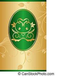 packing design - Illustration golden background with label...