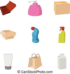 Packing icons set, cartoon style