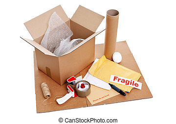 Packing items - Photo of packaging items isolated on a white...