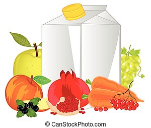 Packing of juice and fruits with vegetable