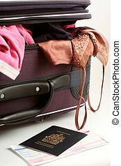 packing - passports and suitcase