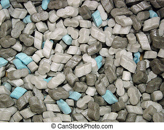 Packing Peanuts - Gray and cyan packing peanuts.