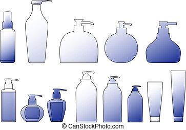 packing shampoo bottle vector outline silhouette