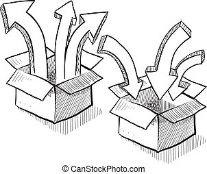 Doodle style packing, shipping, and distribution sketch in vector format showing boxes with unpacking and packing arrows.