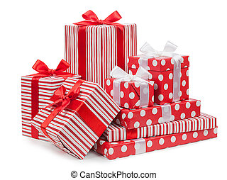 Packing. Striped box with a bow isolated on a white background