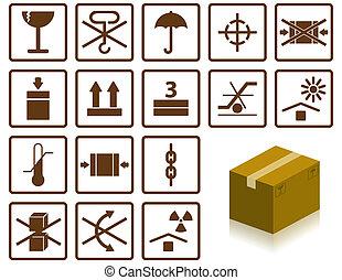 packing symbols and box