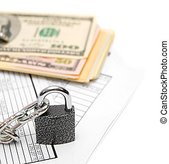 Packs of dollars, documents and chain with the lock.
