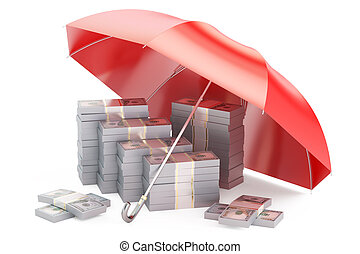 Packs of dollars with umbrella, financial insurance and business stability concept, 3D rendering