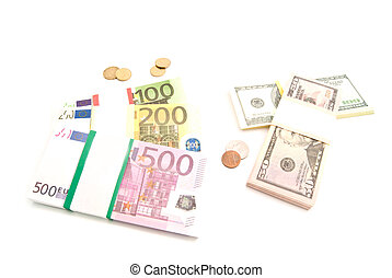 packs of euro and dollars banknotes and coins