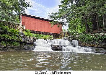 packsaddle, puente cubierto, y, cascada