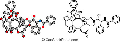 Paclitaxel cancer chemotherapy drug, chemical structure....