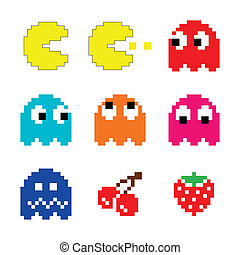 Pacman and ghosts 80s computer icon - Vector colour icons...