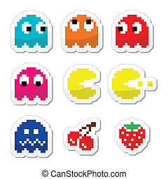 Vector colour lebels set of pixelated pacman retro computer game isolated on white