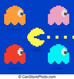 Pacman and Ghosts icon. Retro Game Design. Vector...