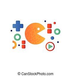 Pacman sign, retro arcade game symbol vector Illustration on...