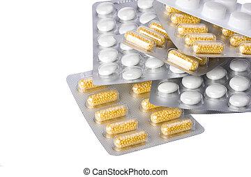 pacote, bolha, pílulas