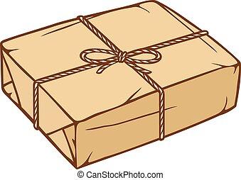 pacote, caixa, com, corda