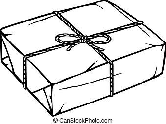 pacote, caixa, com, corda, e, kraft, pape