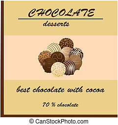pacote, desenho, chocolate