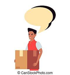 pacote, entrega rápida, empregado, bolha, conversa, homem