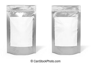 pacote, espaço, etiqueta, saco, folha, em branco