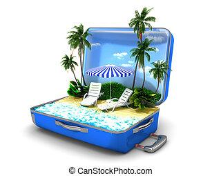 pacote, férias praia