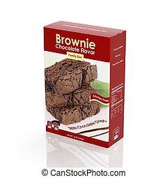 pacote, isolado, brownie, mistura, papel, branca, 3d