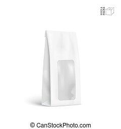 pacote, isolado, embalagem, saco, vetorial, fundo, branca