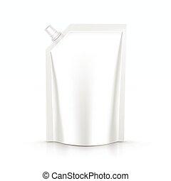 pacote, isolado, embalagem, saco, vetorial, maionese, molho, pacote