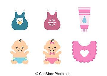 pacote, jogo, bebê, ícones