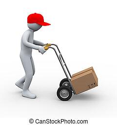 pacote, mão, caminhão entrega, homem, 3d