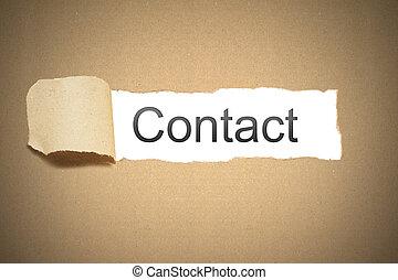 pacote marrom, empapele caixa papelão, rasgado, para, revelar, espaço branco, contato