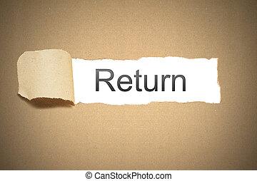 pacote marrom, papel, rasgado, para, revelar, espaço branco, retorno