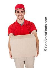 pacote, mensageiro, entregar