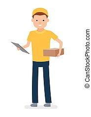 pacote, mensageiro, mão., isolado, contra, jovem, experiência., branca, homem