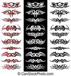 pacote, tatuagem, tribal, vetorial