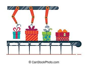 pacotes, experiência., ilustração, magia, fábrica, presentes, feliz, greetings., novo, caixas, feliz, branca, ano, festivo, isolado, conveyor., apartamento, natal