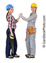 pacte, former, ouvriers, construction, femme